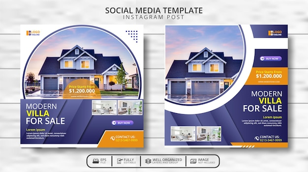 Moderne villa und immobilien social media beitragsvorlage