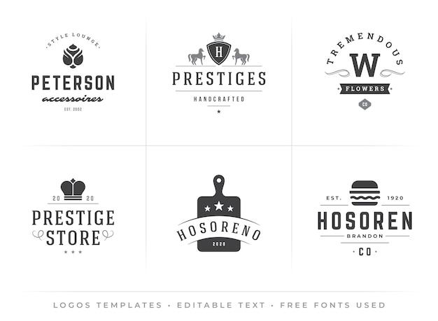Moderne vintage-logos-vorlagen, die mit bearbeitbaren schriftarten im typografischen retro-hipster-design festgelegt werden