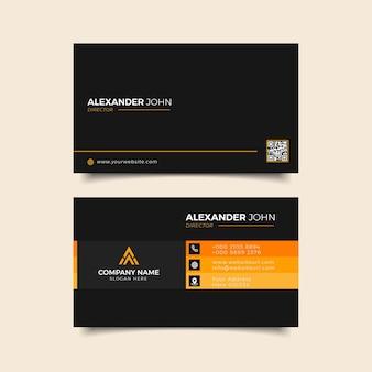 Moderne visitenkarte schwarz und orange elegant professional