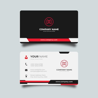 Moderne visitenkarte weiß mit roten und schwarzen details elegantes design professionelle vorlage