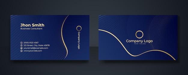 Moderne visitenkarten-design-vorlage. saubere professionelle visitenkartenvorlage, visitenkarte, visitenkartenvorlage. abstrakte goldelemente auf dunkelblauem hintergrund.