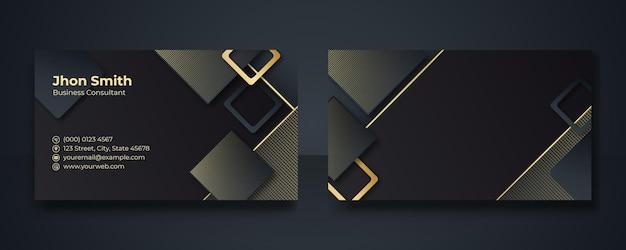 Moderne visitenkarten-designschablone, saubere professionelle visitenkartenschablone, visitenkarte, visitenkartenschablone im gold- und schwarzfarbthema