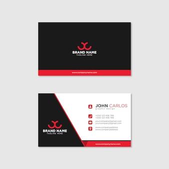 Moderne visitenkartenschablone rote schwarze farben. flaches design vektor abstrakt kreativ - vector