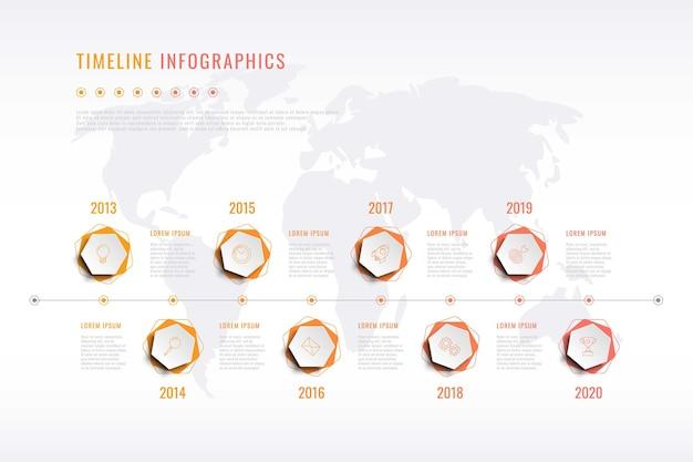 Moderne visualisierung der unternehmensgeschichte mit sechseckigen elementen jahresanzeige und weltkarte
