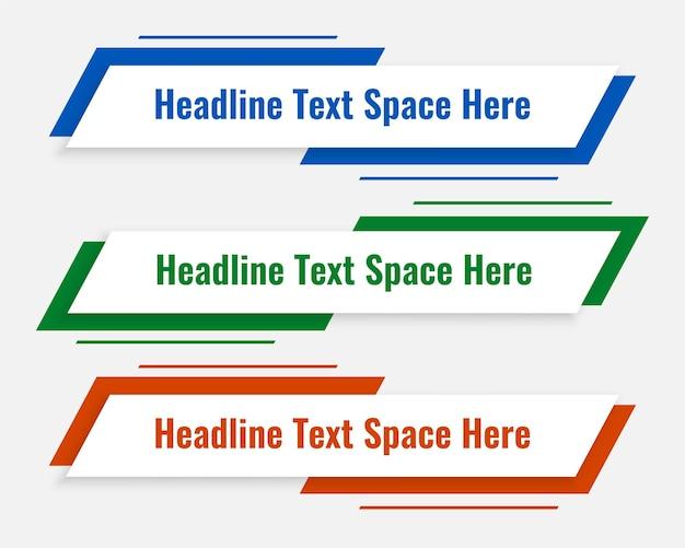 Moderne vorlage für das untere drittel in drei farben