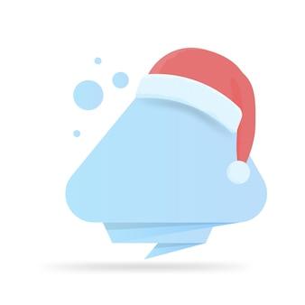 Moderne vorlage neujahrs- und weihnachtsbanner mit weihnachtsmützen. leer für ihren text, grüße oder werbung.