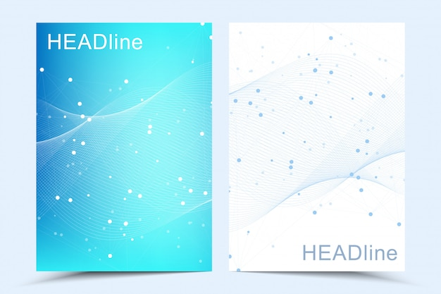 Moderne vorlagen für broschüre, umschlag, flyer, geschäftsbericht, faltblatt. abstrakte kunstkomposition mit verbindungslinien und punkten. wellenfluss. digitale technologie, wissenschaft oder medizinisches konzept