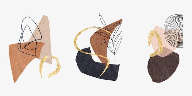 Moderne wandkunst mit aquarell abstrakte form goldflecken florale elemente mitte des jahrhunderts poster-set
