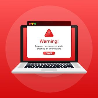 Moderne warnung pop-up mit flachem design auf roter vorlage