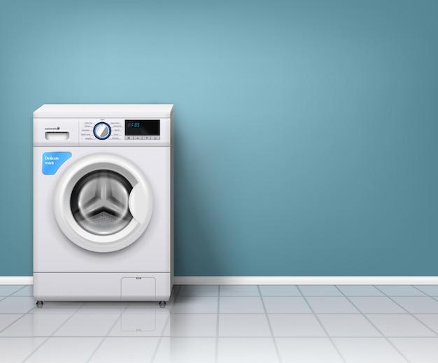 Moderne waschmaschine im leeren waschraum