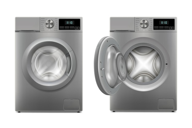 Moderne waschmaschine mit geöffneter tür und geschlossener tür, vorderansicht designvorlage von wacher. vorderansicht, wäscherei-konzept. realistische 3d-vektor-ilustration, isoliert auf weißem hintergrund