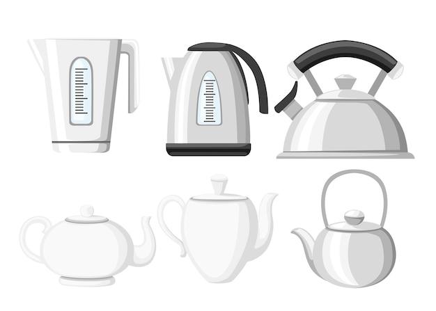 Moderne wasserkocher- und teekannen-symbolsammlung. teekannengeschirr aus edelstahl, kunststoff und keramik. illustration auf weißem hintergrund