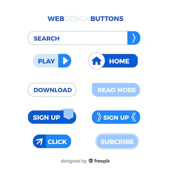 Moderne webdesignknopfsammlung mit flachem design