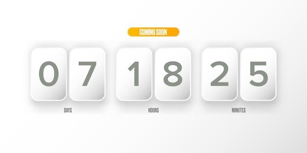 Moderne webseitenvorlage im papierstil mit countdown
