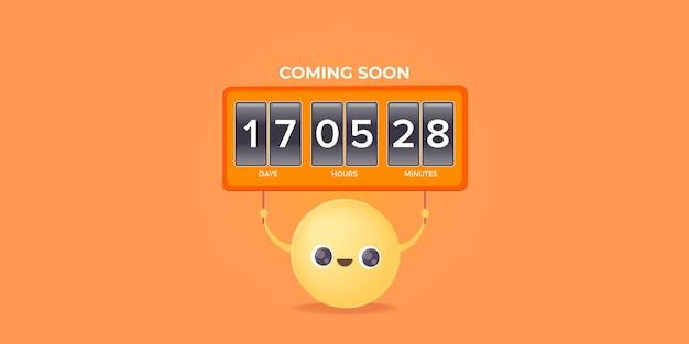 Moderne webseitenvorlage mit smiley-gesicht mit countdown