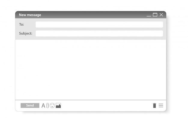 Moderne website-e-mail-seite. sendeelement für site-formular