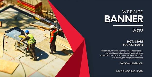 Moderne website-fahne mit papierformen