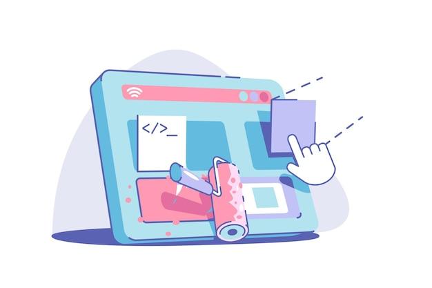 Moderne website-redesign-vektor-illustration-web-design im bau flacher stil