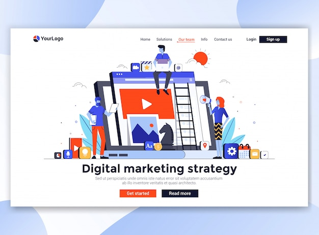 Moderne website-vorlage - digitale marketingstrategie
