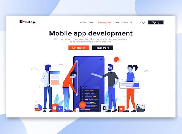 Moderne website-vorlage - mobile app-entwicklung
