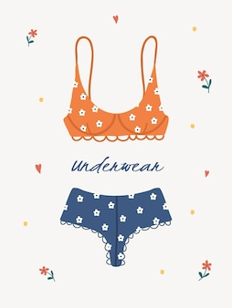 Moderne weibliche dessous oder badebekleidung. trendige handgezeichnete unterwäsche oder bikinioberteile und -unterteile.