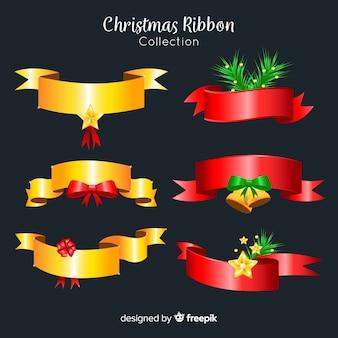Moderne weihnachtsbandsammlung mit realistischem design