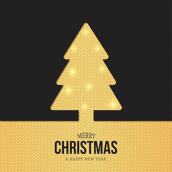Moderne weihnachtsbaumschattenbildkarte mit goldbeschaffenheit