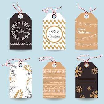 Moderne weihnachtsgeschenkmarken und -karten.