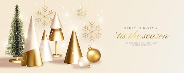Moderne weihnachtsgrußkarte mit realistischem goldenen weihnachtsbaum