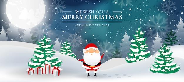 Moderne weihnachtslandschaft mit santa claus- und nordlichtern