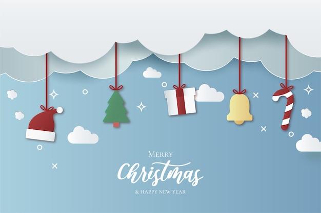 Moderne weihnachtstapete mit papierschnittentwurf