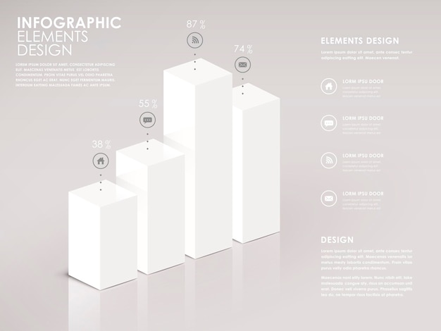 Moderne weiße 3d-balkendiagramm-infografik-elemente