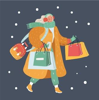 Moderne winterfrau mit einkaufstüten Premium Vektoren