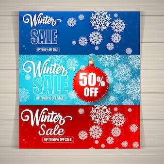 Moderne Winterschlussverkauf-Banner, Poster und Flyer-Vorlagen