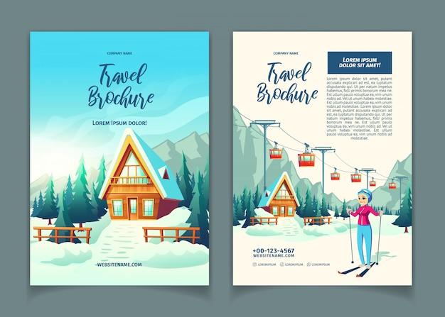 Moderne winterurlaubsortkarikatur-anzeigenbroschüre, promoflyerschablone