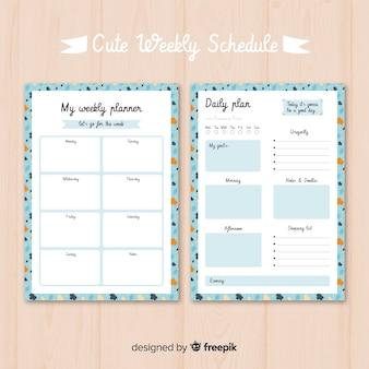 Moderne wöchentliche planer vorlage mit flachen design