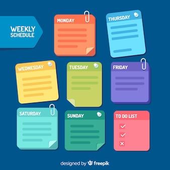 Moderne wöchentliche zeitplanvorlage mit flachem design