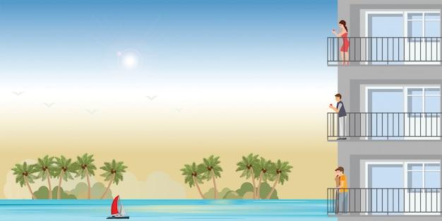 Moderne wohnung am strand mit ruhenden menschen im sonnenuntergang.