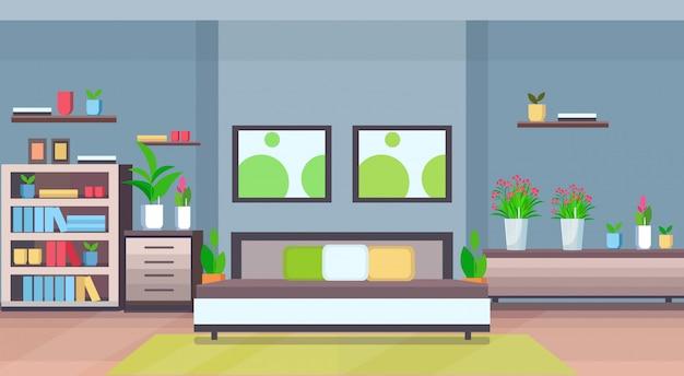 Moderne wohnung leer keine menschen schlafzimmer pflanzen im innenraum flach flach horizontal