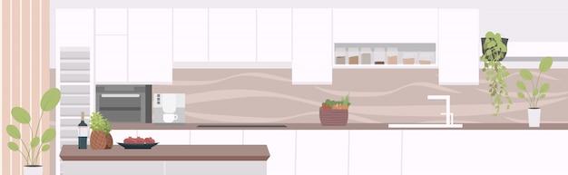 Moderne wohnung mit möbeln leer keine menschen küche innen horizontal