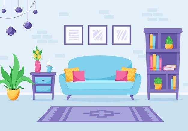 Moderne wohnzimmer-innenarchitektur loft-wohnung