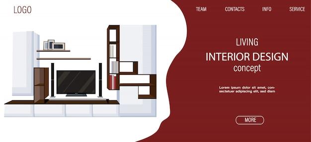 Moderne wohnzimmer site-vorlage mit großem fernseher und regalen für bücher und fotorahmen