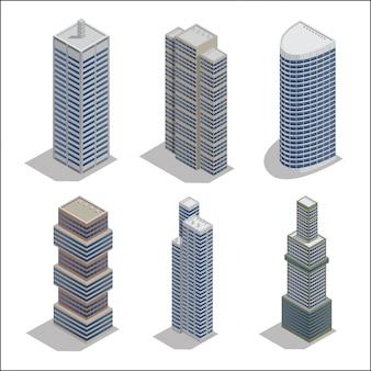 Moderne wolkenkratzer. isometrische gebäude