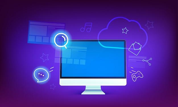 Moderne wolkentechnologie-konzeptillustration. moderner computer mit glänzenden ikonen und wolke