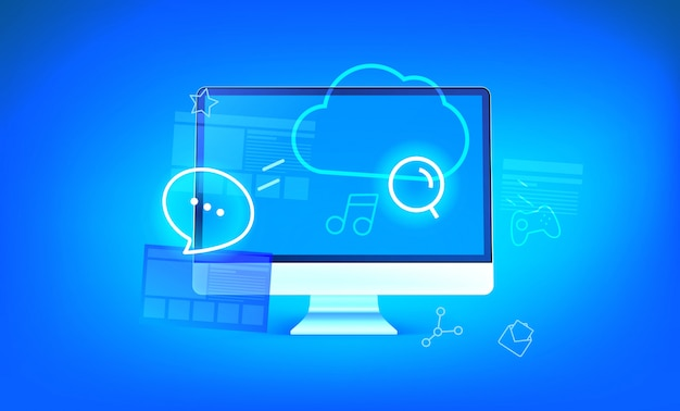 Moderne wolkentechnologieillustration. moderner computer mit glänzenden ikonen und wolke