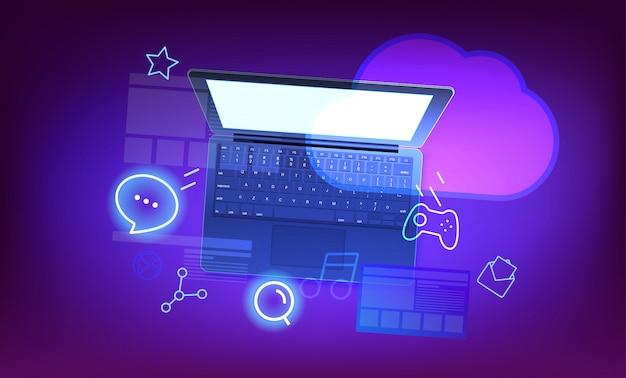 Moderne wolkentechnologieillustration. moderner laptop mit glänzenden ikonen und