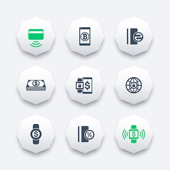 Moderne zahlungsmethodenikonen auf achteckformen, kontaktlose karte, zahlung mit tragbaren geräten, illustration