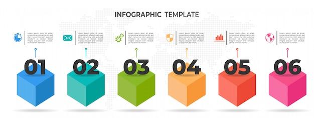 Moderne zeitleiste infografik 6 optionen