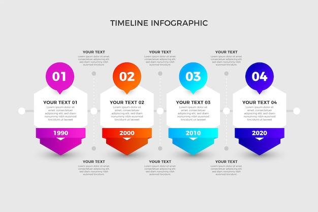 Moderne zeitleiste mit farbverlauf infografik