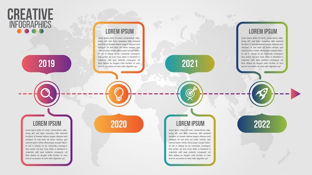 Moderne zeitleisten-designvorlage für unternehmen mit 4 schritten oder optionen Premium Vektoren